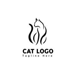 simple elegant brush art sitting cat logo