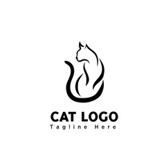 simple brush art sitting cat logo