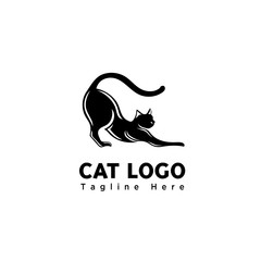silhouette funny play cat logo
