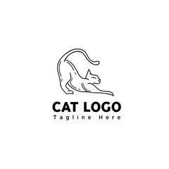 funny play cat line art logo