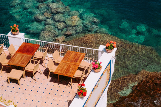 Cafe over the sea crystal waters.