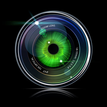 Eye inside a camera photo lens
