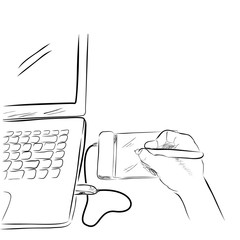 Sketch Line Art of Artist / Illustrator Creating Something using Pen Tab / Graphic Tablet