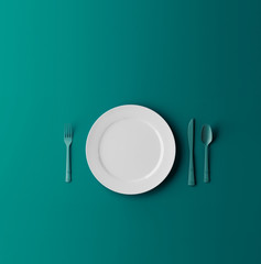 Empty plate, fork and knife isolated on blue dreen background. 3d illustration