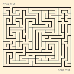Rectangle maze puzzle game with entry and exit point. Funny puzzle labyrinth game. Placeholder for custom text. EPS10 Vector.