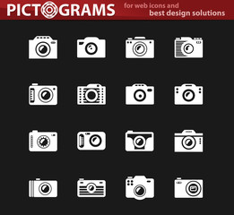 photo camera white icon set