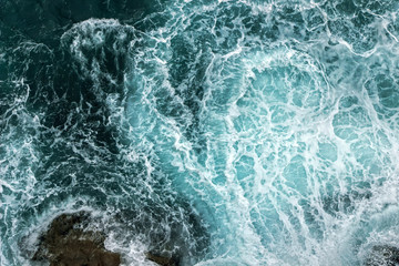 Aerial View Of Waves In Ocean