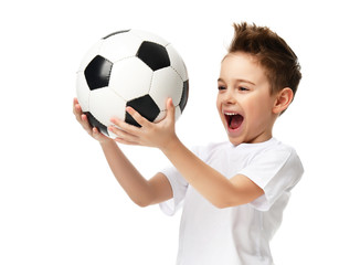 Fan sport boy player hold soccer ball celebrating happy smiling laughing free text copy space