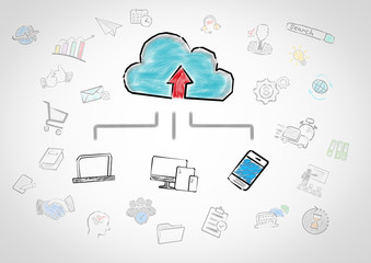 Cloud technology concept. Chart with keywords and icons on gray background.