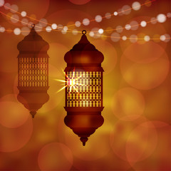 Illuminated arabic lamp, lantern with string of lights. Modern blurred vector illustration background for muslim community holy month Ramadan Kareem.