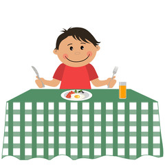Cute little boy is sitting at a table and holding a fork and knife. On the table is a plate of food and a glass of orange juice. Vector illustration