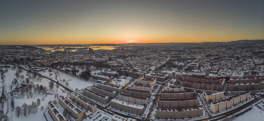 Winter sunset in Oslo, Norway