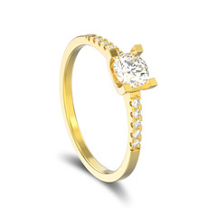3D illustration isolated yellow gold engagement round cut shape ring with diamond with shadow