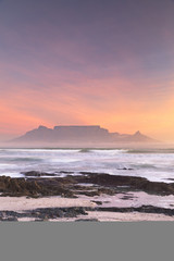 Table Mountain from Milnerton beach at sunset, Cape Town, South Africa