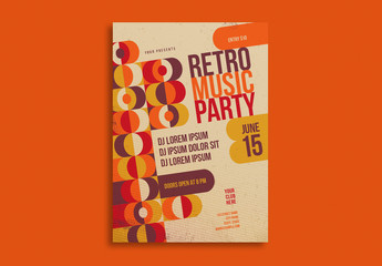 Retro Party Flyer Layout with Orange and Brown Accents