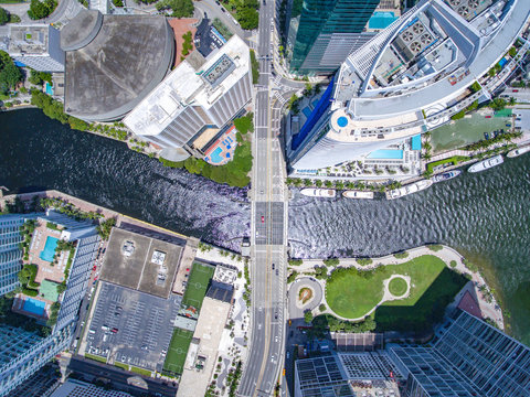 Birdseye Tall Building Bridge City Miami