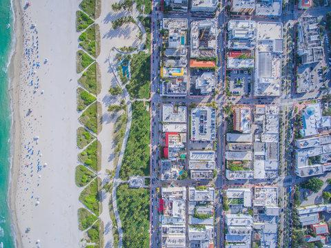 Aerial Birdseye Beach Buildings Miami