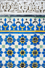 Morocco, Marrakech-Safi (Marrakesh-Tensift-El Haouz) region, Marrakesh. Colorful ceramic wall tiles at the Heritage Museum, housed in a restored historic riad.