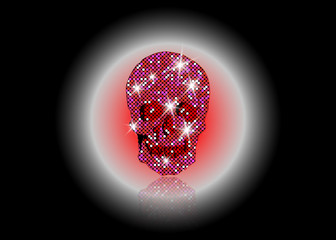 Shiny Skull of pink glittering stars . Pink Diamond Skull element collection. Day of The Dead. Icon symbol fashion design luxury mosaic patterns, vector isolated or black background