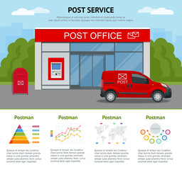 Post office service with postman riding car for delivery and infographics. Vector illustration isolated on background. Correspondence isolated vector illustration