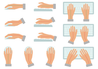 vector illustration of correct and incorrect hand position for use keyboard and holding mouse