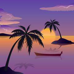 Vector tropical island illutration, beach theme, palm trees, sea or ocean, coast and the sun. Travel banner