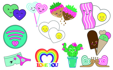 Love. Lovely set of cute patch. Vector illustration.