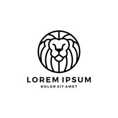 lion logo head round emblem badges outline line vector download