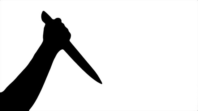 Black silhouette of a beating knife in hand on a white background