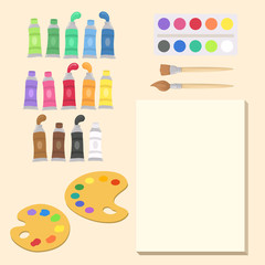 Art Supplies Set Vector Illustration Cartoon. Paint tubes, palette, canvas,and brush. Back to School Supplies.