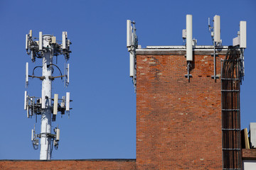 cell tower with building