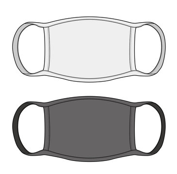 Dust Mask fashion flat technical drawing template