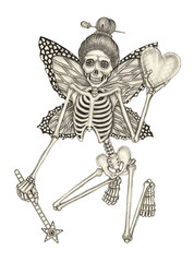 Art Surreal Fairy Skull. Hand pencil drawing on paper.