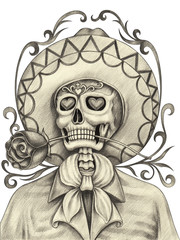 Art Skull in love Day of the dead. Hand pencil drawing on paper.