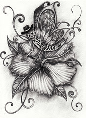 Art Fantasy butterfly Skull on Flower. Hand pencil drawing on paper.