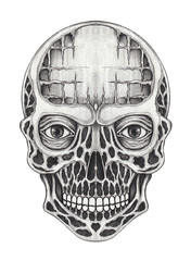 Art Surreal Skull. Hand pencil drawing on paper.