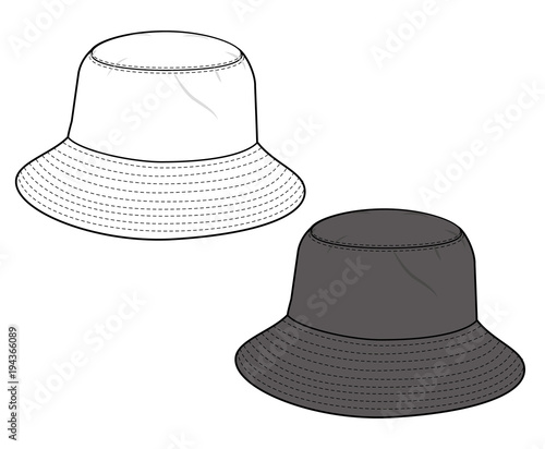 Bucket Hat Fashion flat technical drawing vector template