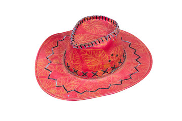 Red cowboy hat isolated on white background