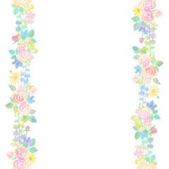 バラと草花のライン シームレス