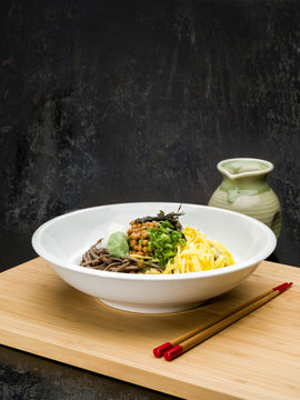 Japanese Noodles in White Bowl