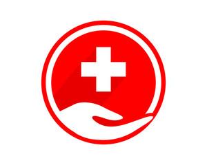medical circle hand image vector icon logo
