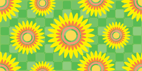 Pattern Seamless flowers, Abstract Colorful background, Vector illustration