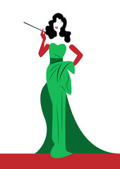 shop logo fashion woman, Beautiful brunette silhouette diva. Company logo design, Beautiful cover girl retro in elegant green and red dress, vintage woman smoking a cigarette holder, vector  isolated