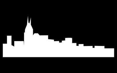 white free nashville skyline silhouette on black background