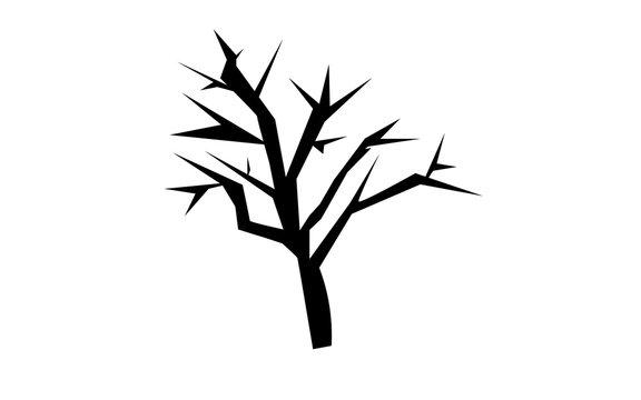 mesquite tree silhouette on white background
