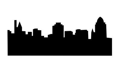 cincinnati skyline silhouette on white background