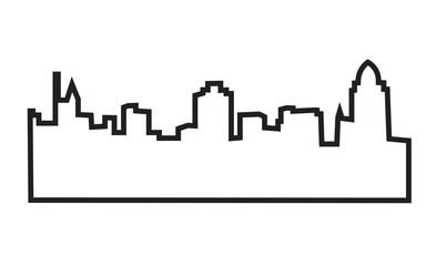cincinnati skyline silhouette outline on white background