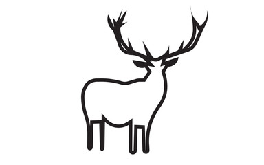 free clip art deer silhouette outline on white background