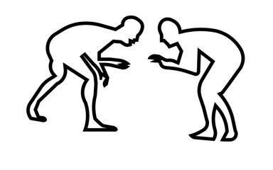 wrestling silhouette clip art outline on white background