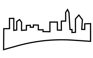 charlotte skyline silhouette outline on white background